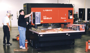 Lectrosonics laser sheet metal cutter in Albuquerque Factory